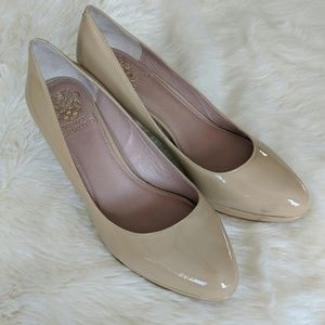 Vince Camuto Patent Leather Nude Heels Size 8.5M